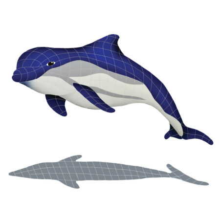 BOTTLENOSE DOLPHIN UPWARD WITH SHADOW (BDSBLUUL)  40″ x 51″