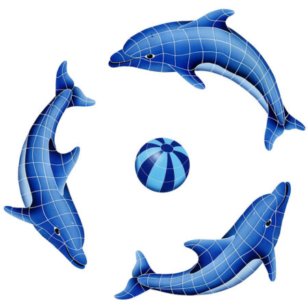 DOLPHIN GROUP (1 LEFT,2 RIGHT,1 FREE BALL) BLUE (DOLGRPM-BL) 62″ x 62″