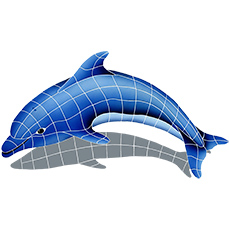DOLPHIN WITH SHADOW LEFT 25″ x 40″ (DSHBLULM)