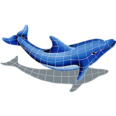 DOLPHIN WITH SHADOW RIGHT 22″ x 40″ (DSHBLURM)