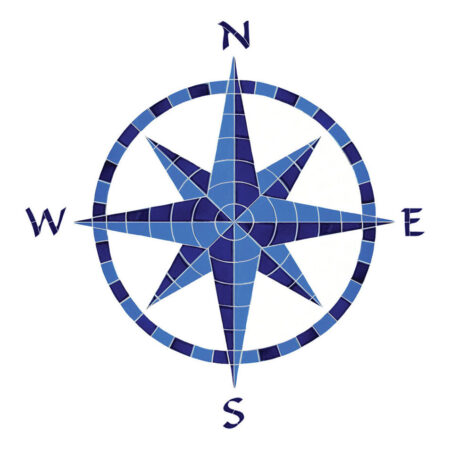 EIGHT POINT COMPASS BLUE (CEIBLUL) 42″x41″