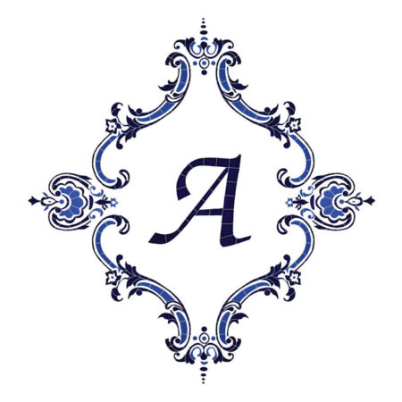 MONOGRAM MEDALLION PERSONALIZED BLUE (MMOBLUL-P) 56″x60″