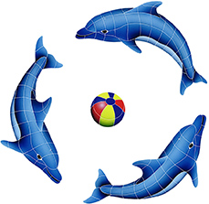 DOLPHIN GROUP (1 LEFT,2 RIGHT,1 FREE BALL) MULTI COLOR (DOLGRPS-MC)  42″ x 42″