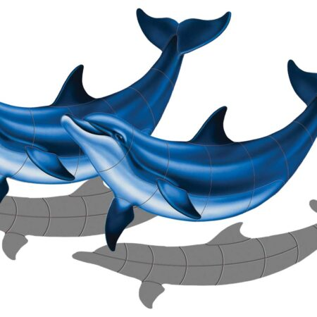 Double Bottlenose Dolphin-B with shadow 52″ x 33″