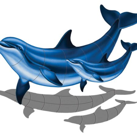 Double Bottlenose Dolphin-B with Baby (with shadow) 39″ x 26″