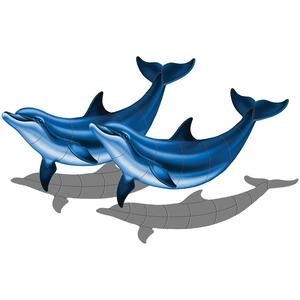 Double Bottlenose Dolphin-B with shadow 52″ x 33″PORC-BD2D-36/SH