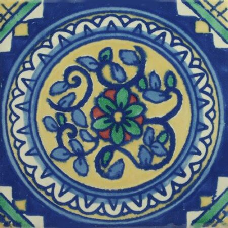 CERAMIC MEXICAN TILE – CIRCLE OF FLOWERS