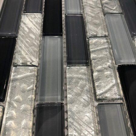 SILVER GRAY PLATA GLASS TILE 1X3 6MM