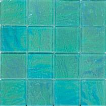 Green  3×3 Textured Glass Mosaic 12×12 Sheet