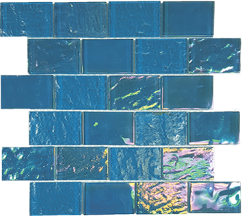 Bimini Blue   2×3 Staggered Glass Mosaic  11.5 x 11.75 Sheet