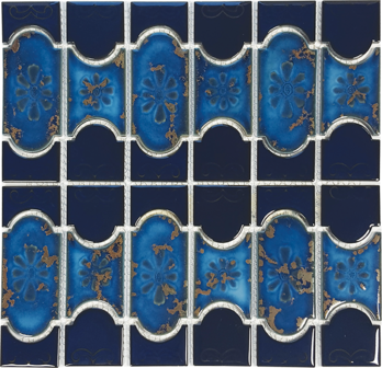 Cobalt with Terra Porcelain  Mosaic 12.5×12.5  Sheet