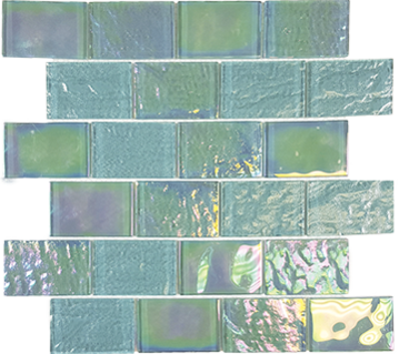 Emerald Green  2×3 Staggered Glass Mosaic 11.5 x 11.75 Sheet