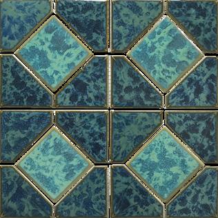 Gulf Blue Porcelain Akron Mosaic 12×12 Sheet