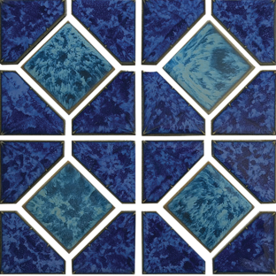 Pacific Blue Porcelain Akron Mosaic 12×12 Sheet
