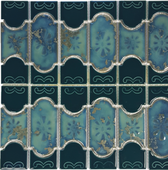 Teal Green Porcelain Mosaic 12.5×12.5 Sheet