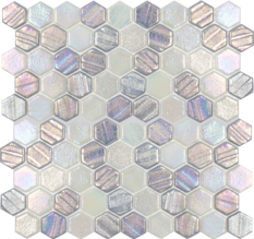 Silver ​1×1 Hex Glass Mosaic