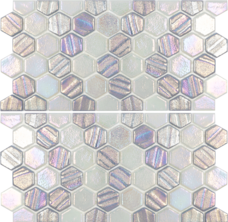 Silver 1×1 Hex Glass Mosaic with Border