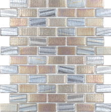 Grey 1×2 Staggered Glass Mosaic