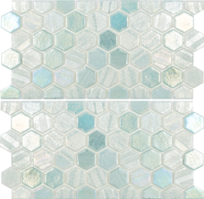 Light Green 1×1 Hex Glass Mosaic with Border