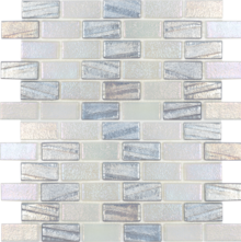 Silver 1×2 Staggered Glass Mosaic