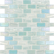 Light Green 1×2 Staggered Glass Mosaic