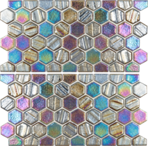 Black 1×1 Hex Glass Mosaic with Border