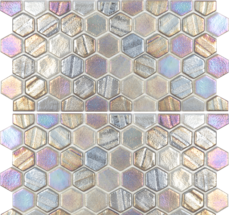 Grey ​1×1 Hex Glass Mosaic with Border
